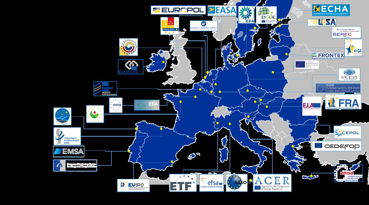 map highlighting all the EU agencies